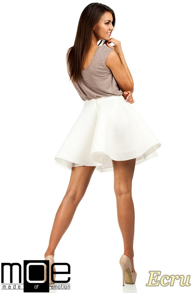 CM0657 Rozkloszowana spódniczka balerinka - ecru