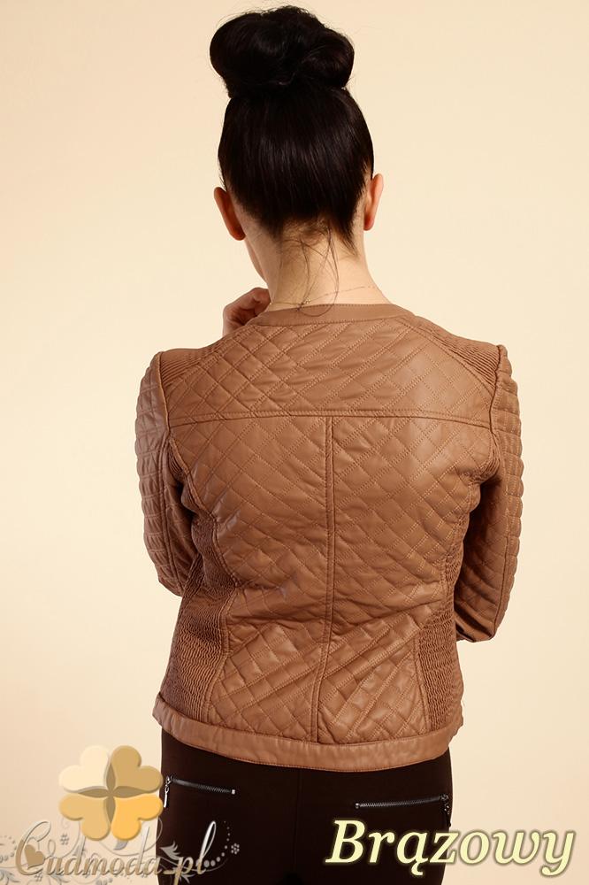 CM0236 Pikowana kurtka ramoneska zamki - brązowa