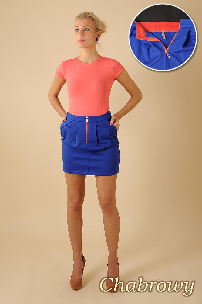 CM0066 Mini spódnica spódniczka ołówkowa tulipan - chabrowa