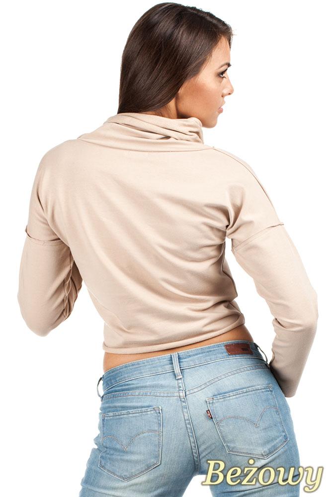 CM0977 Krótka sportowa bluza z golfem - beżowa