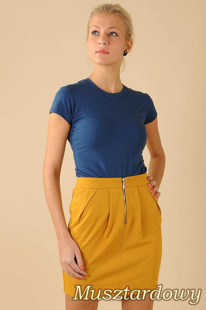 CM0066 Mini spódnica spódniczka ołówkowa tulipan - musztardowa