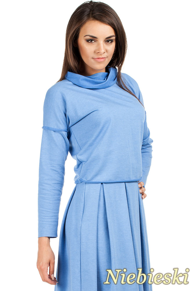 CM0977 Krótka sportowa bluza z golfem - niebieska