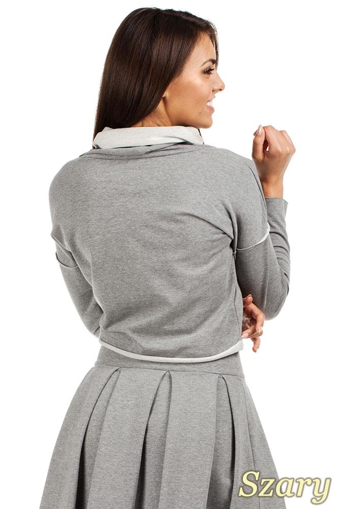 CM0977 Krótka sportowa bluza z golfem - szara