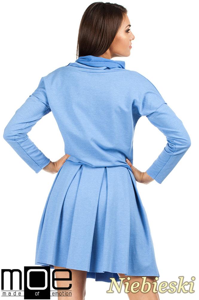 CM0978 Dzianinowa spódniczka kontrafałda - niebieska