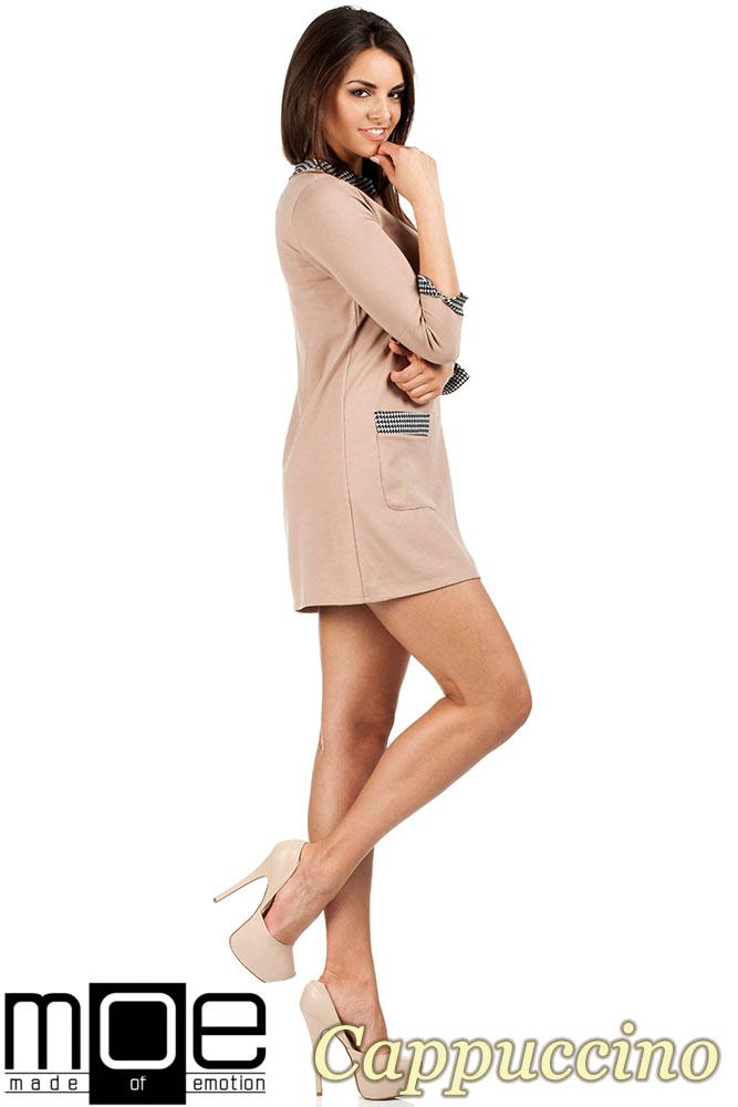CM0979 Sukienka tunika retro w stylu lat 60 - cappuccino