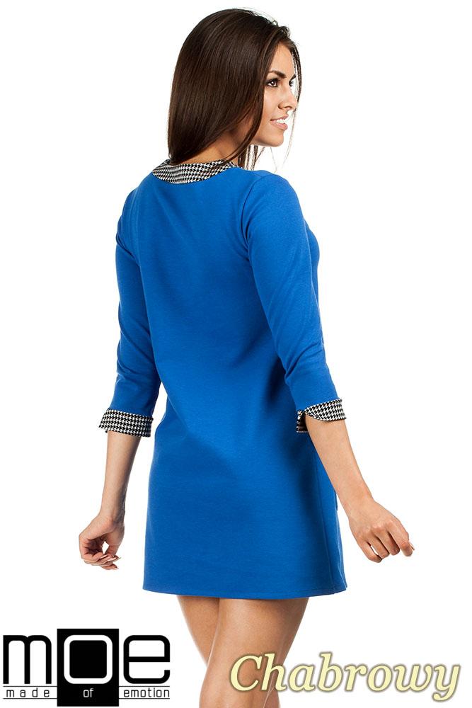 CM0979 Sukienka tunika retro w stylu lat 60 - chabrowa