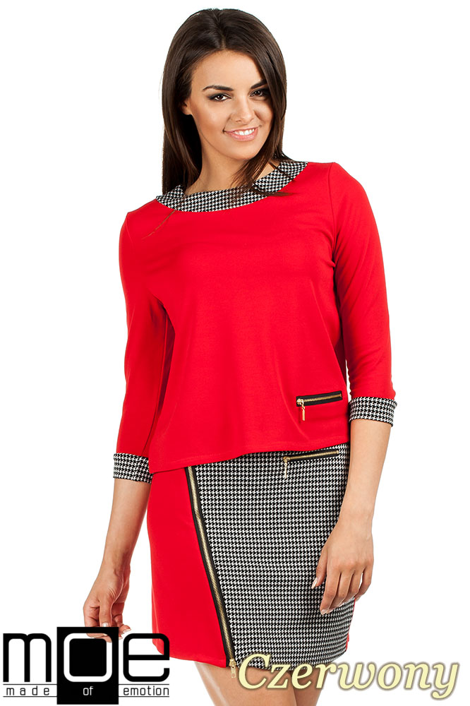 CM0980 Trapezowa bluzka pepito - czerwona