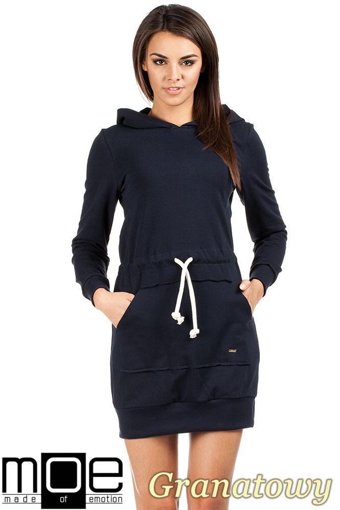 CM0985 Dresowa sukienka kangurka z kapturem - granatowa