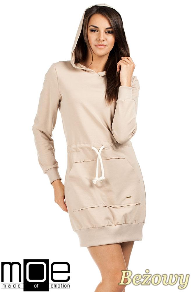 CM0985 Dresowa sukienka kangurka z kapturem - beżowa