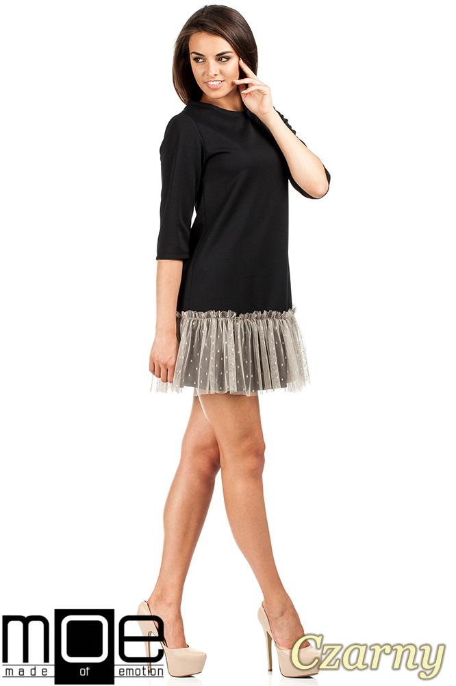CM0986 Sukienka tunika z tiulowym dołem - czarna OUTLET