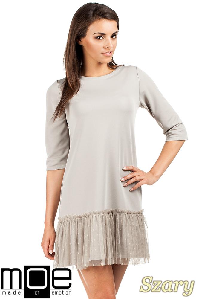 CM0986 Sukienka tunika z tiulowym dołem - szara OUTLET