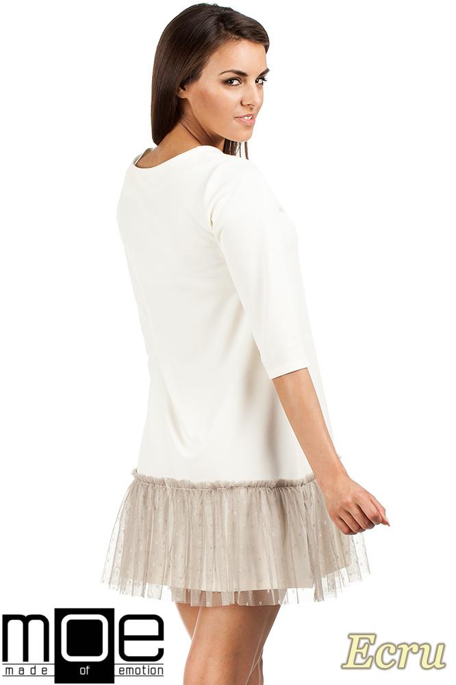 CM0986 Sukienka tunika z tiulowym dołem - ecru OUTLET
