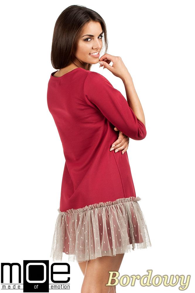 CM0986 Sukienka tunika z tiulowym dołem - bordowa  OUTLET
