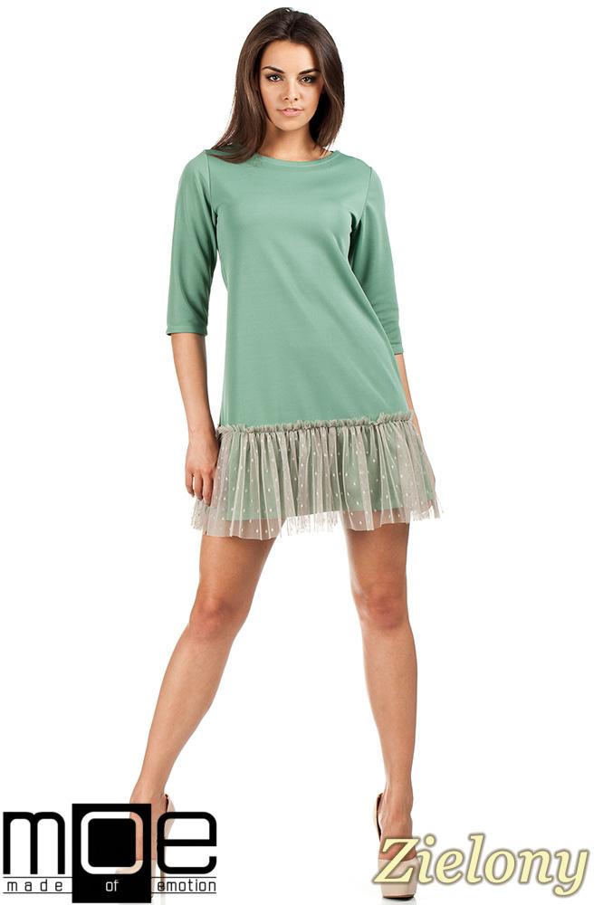 CM0986 Sukienka tunika z tiulowym dołem - zielona OUTLET