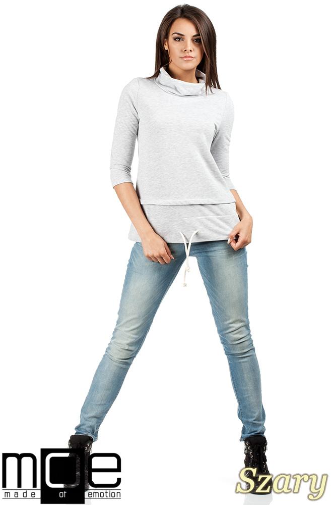CM0988 Sportowa bluza damska z golfem - szara