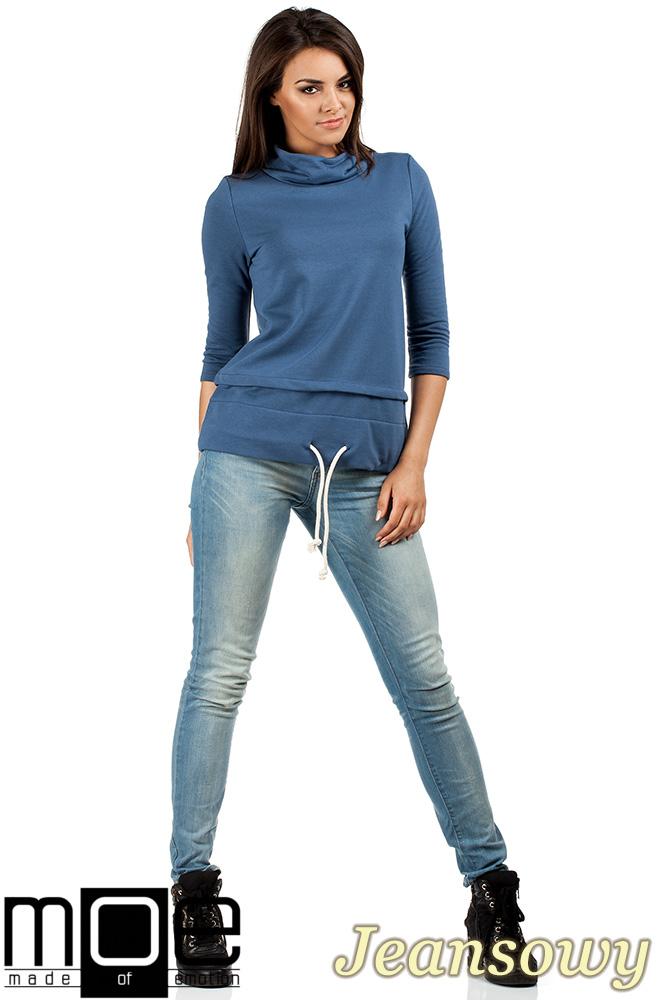 CM0988 Sportowa bluza damska z golfem - jeansowa
