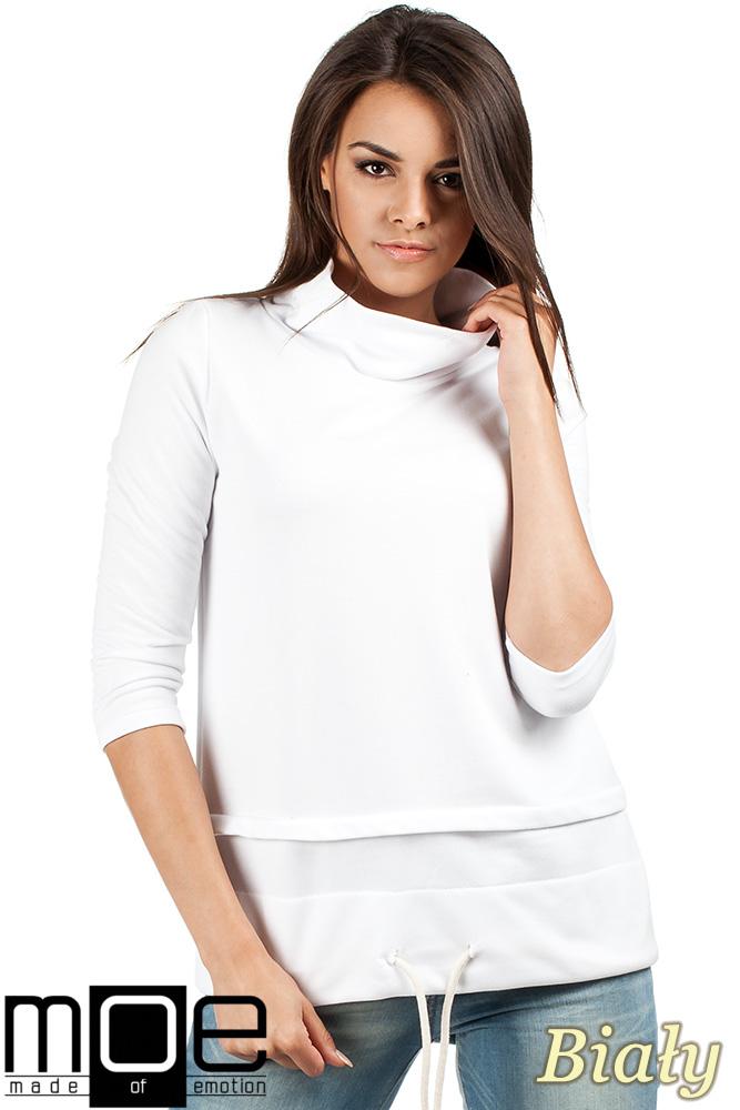 CM0988 Sportowa bluza damska z golfem - biała