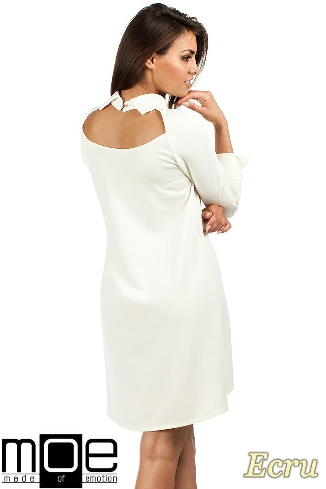 CM0976 Asymetryczna sukienka z kołnierzykiem - ecru