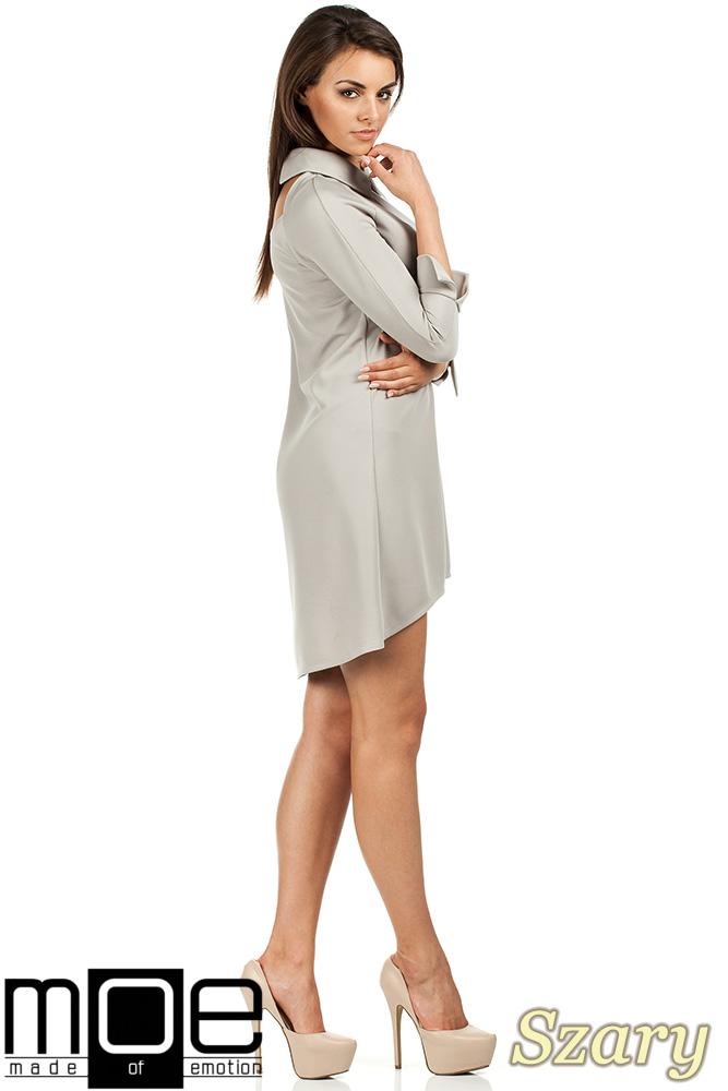 CM0976 Asymetryczna sukienka z kołnierzykiem - szara
