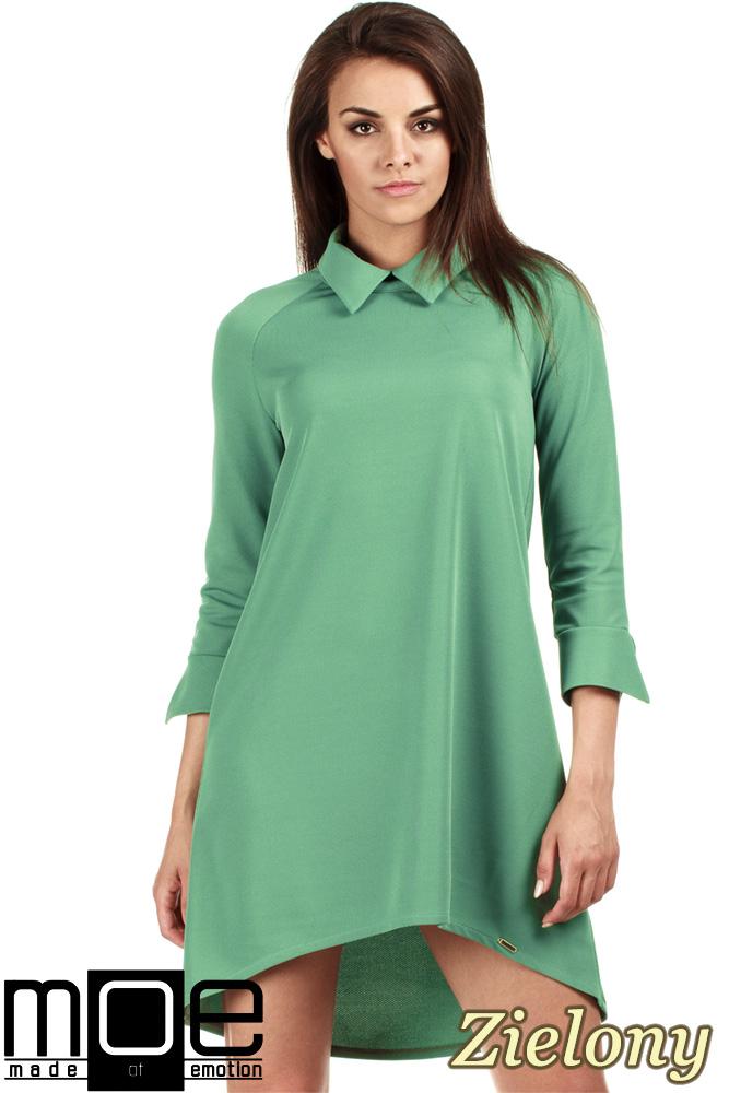 CM0976 Asymetryczna sukienka z kołnierzykiem - zielona