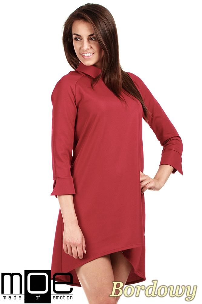 CM0976 Asymetryczna sukienka z kołnierzykiem - bordowa