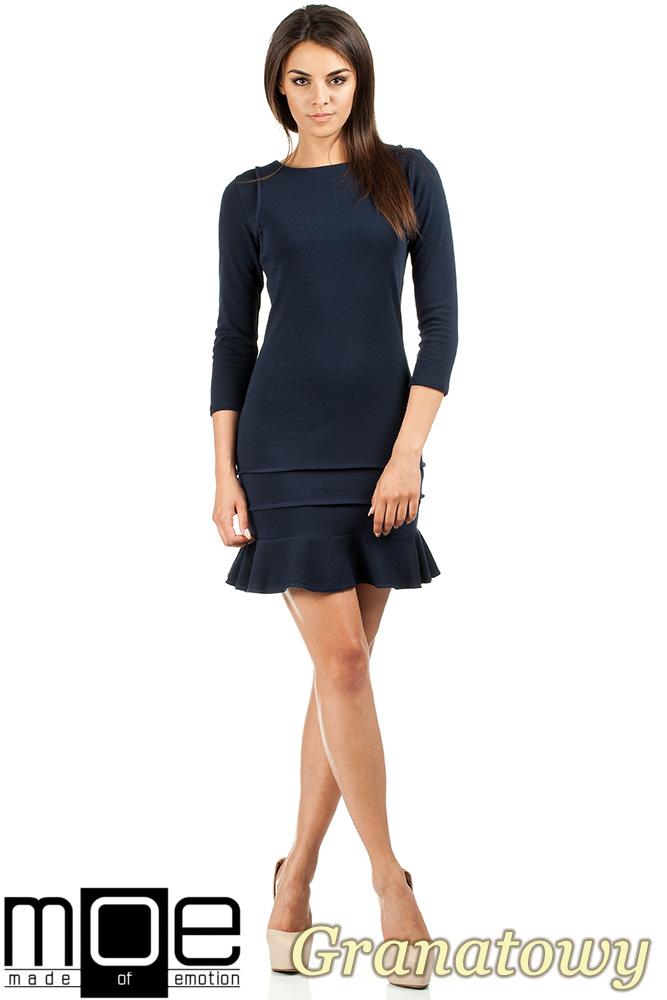 CM0983 Elegancka sukienka mini z falbanką - granatowa