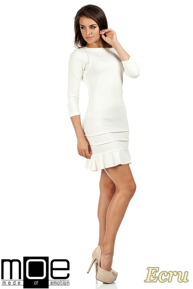 CM0983 Elegancka sukienka mini z falbanką - ecru