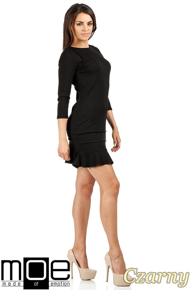 CM0983 Elegancka sukienka mini z falbanką - czarna