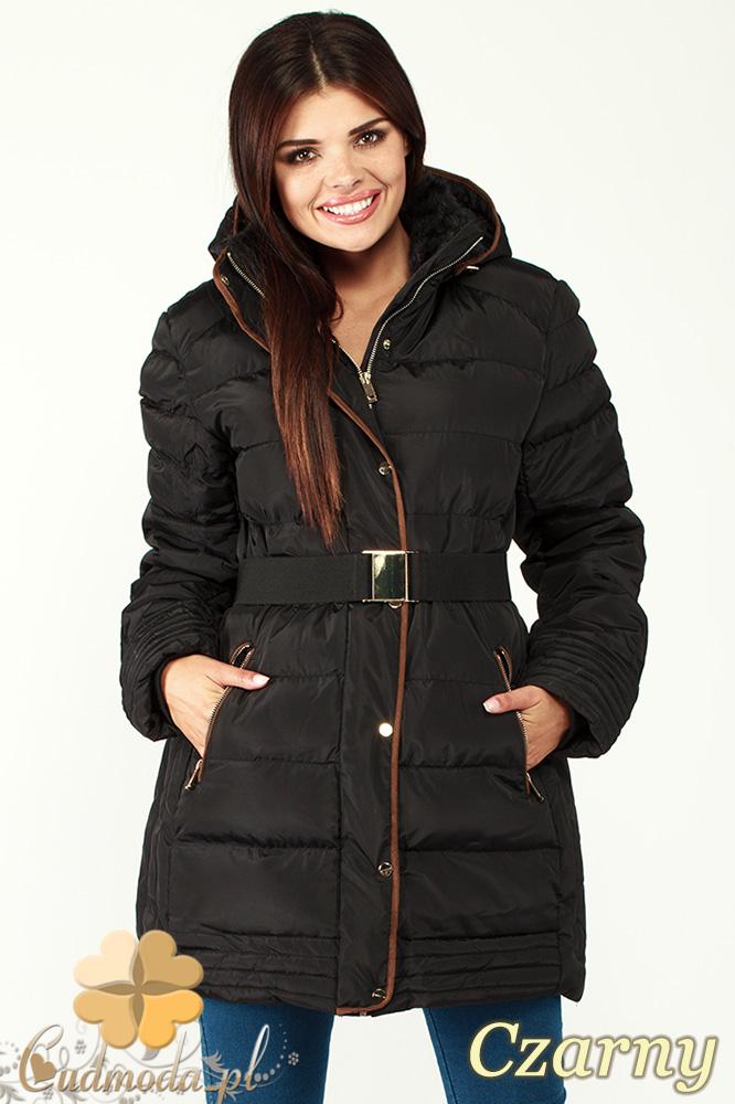 CM0997 Zimowa kurtka damska pikowany płaszczyk 3XL - 7XL - czarny