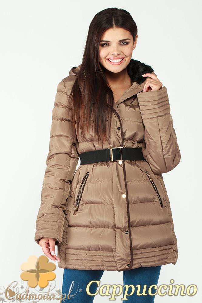 CM0997 Zimowa kurtka damska pikowany płaszczyk 3XL - 7XL - cappuccino