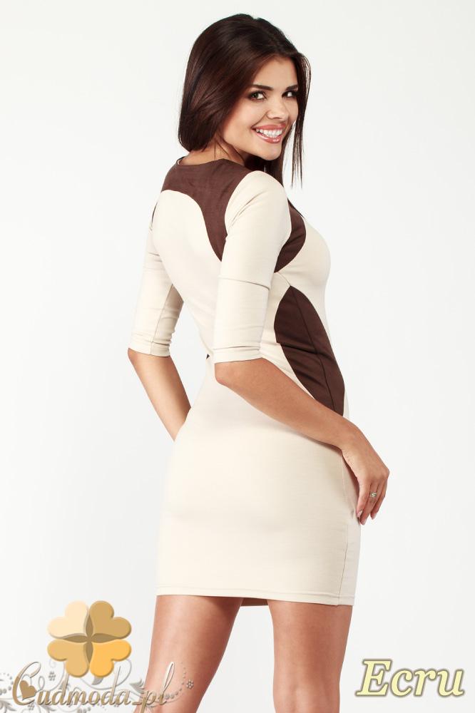 CM0992 Dopasowana mini sukienka z kontrastową zamszową wstawką - ecru