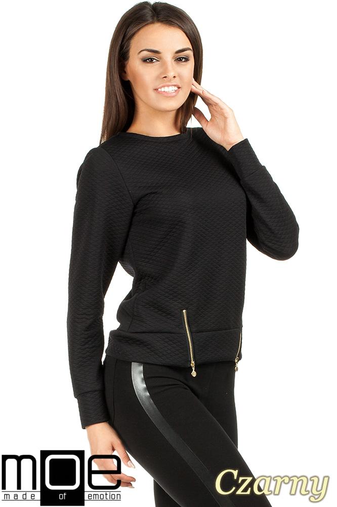 CM0991 Pikowana bluza damska z zameczkami - czarna