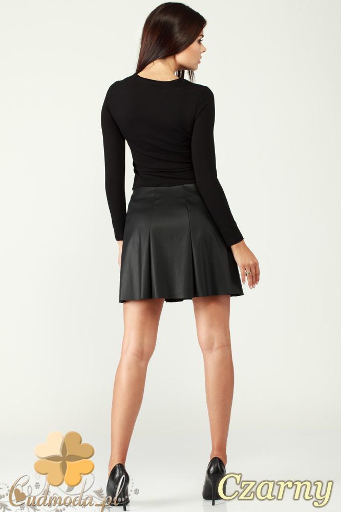 CM0993 Sukienka kontrafałda ze skórzanym dołem - czarna