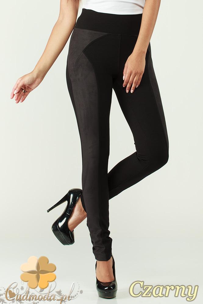 CM0305 Legginsy spodnie damskie z zamszem - czarne