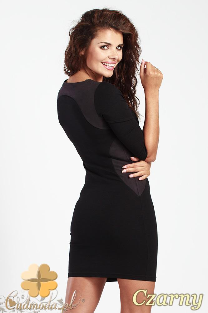 CM0992 Dopasowana mini sukienka z kontrastową zamszową wstawką - czarna