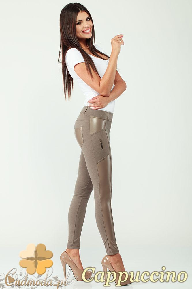 CM0301 Legginsy spodnie z zameczkami i wstawką ze skóry - cappuccino