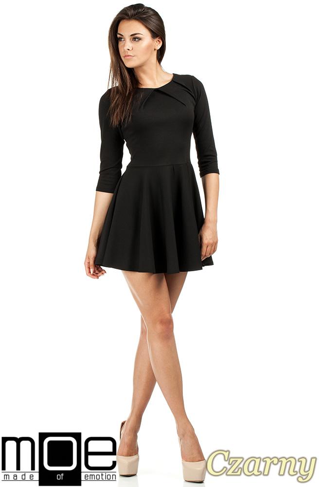 CM0990 Elegancka rozkloszowana sukienka mini - czarna