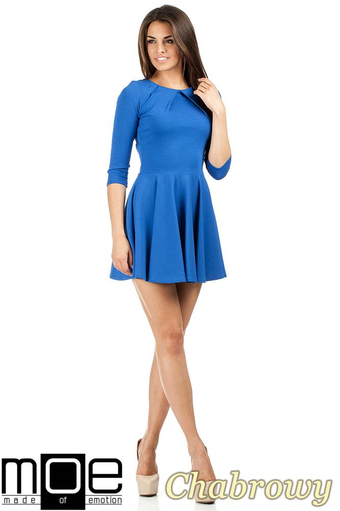 CM0990 Elegancka rozkloszowana sukienka mini - chabrowa