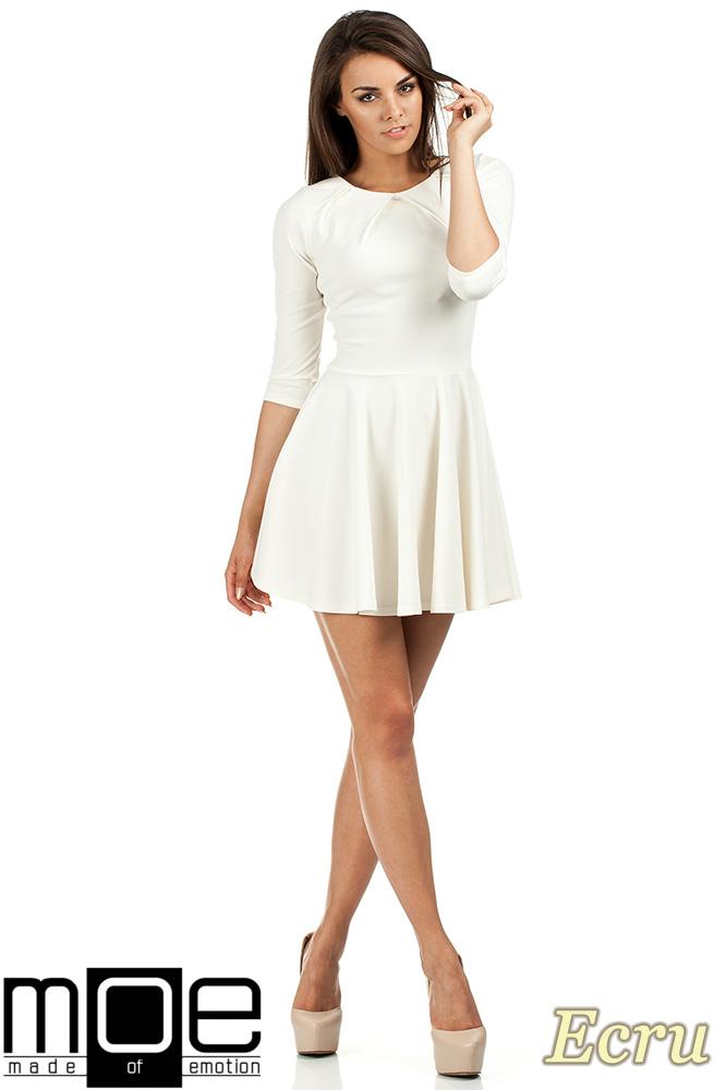 CM0990 Elegancka rozkloszowana sukienka mini - ecru