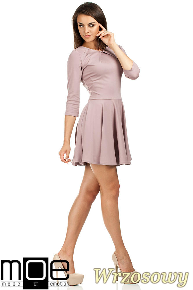 CM0990 Elegancka rozkloszowana sukienka mini - wrzosowa