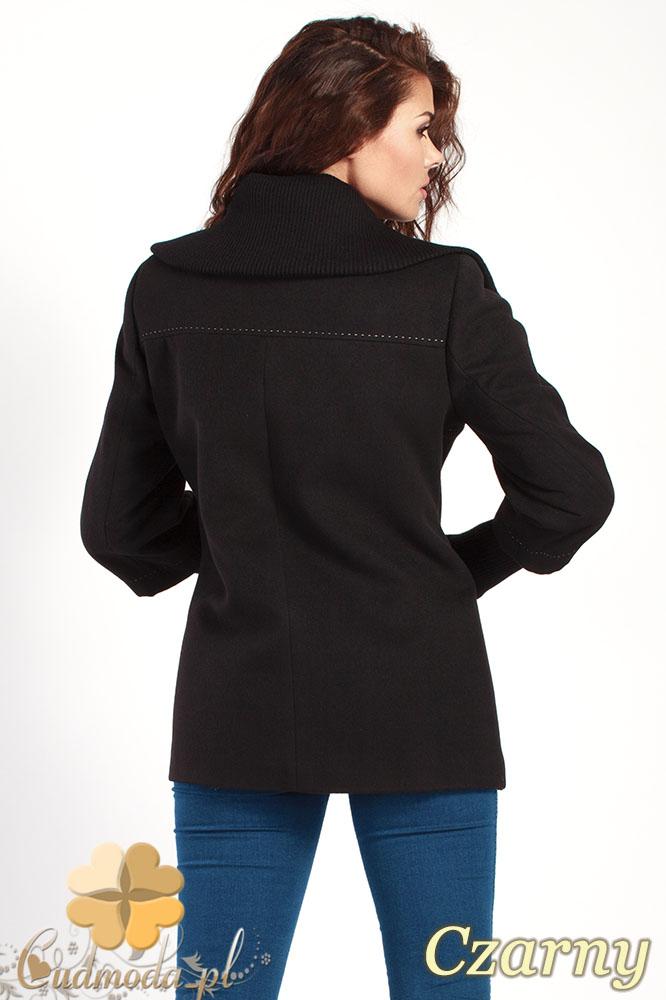 CM0361 Krótki jednorzędowy płaszczyk z flauszu - czarny