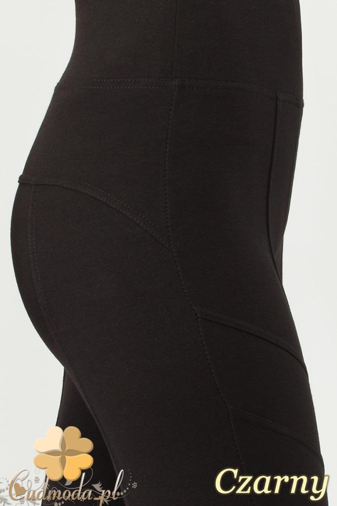 CM0998 Legginsy na wysokiej ściągającej gumie z przeszyciami - czarne