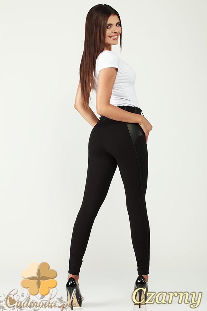 CM1003 Legginsy spodnie rurki z pionowymi przeszyciami i skórzanymi wstawkami - czarne