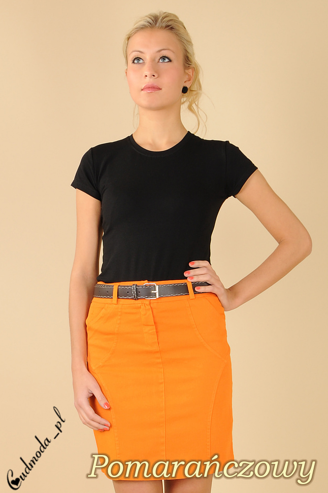 CM0086 Prosta klasyczna spódniczka mini pomarańczowa + pasek gratis