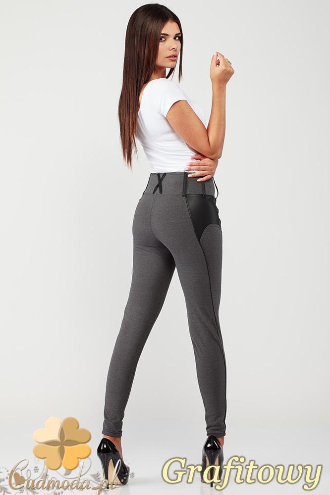 CM1003 Legginsy spodnie rurki z pionowymi przeszyciami i skórzanymi wstawkami - grafitowe