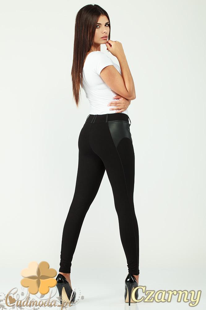 CM1004 Legginsy spodnie rurki z przeszyciami i skórzanymi wstawkami - czarne