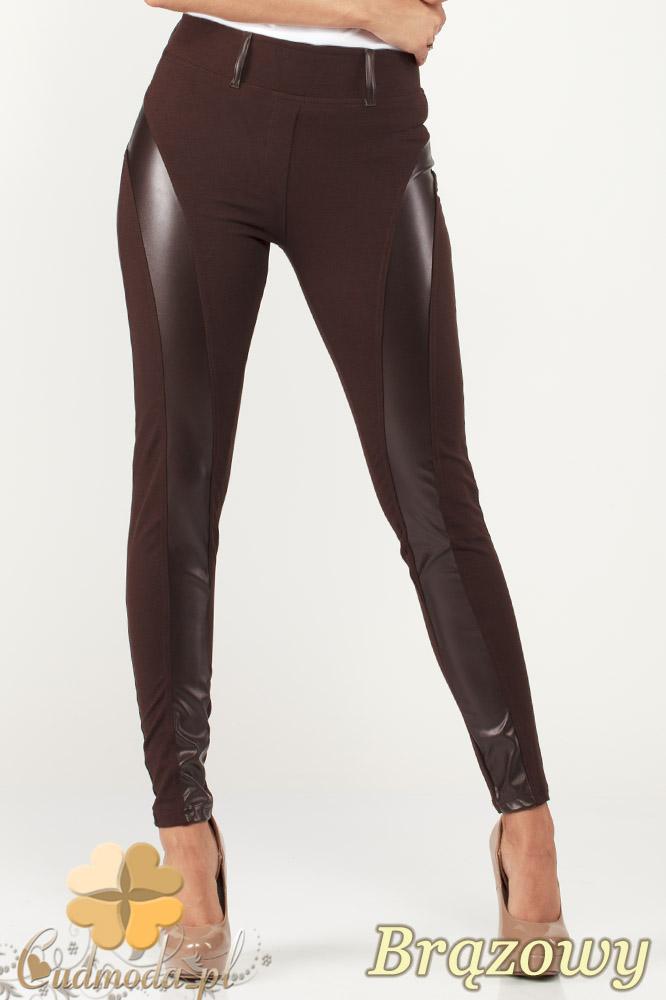 CM0999 Legginsy spodnie z wysokim stanem i skórzanym pasem na nogawkach - brązowe