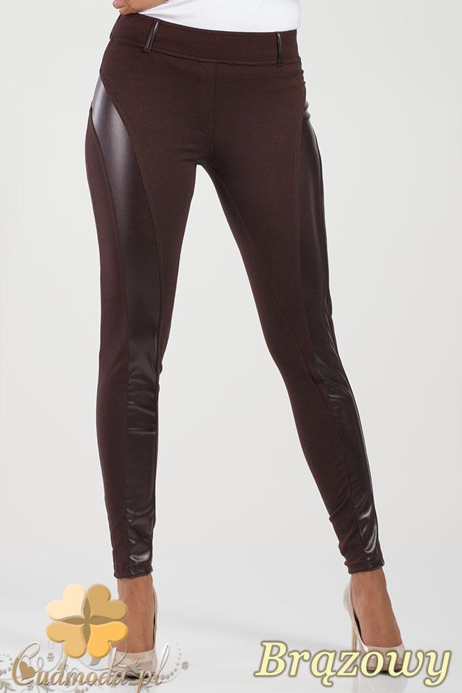 CM1010 Legginsy spodnie z niskim stanem i skórzanym pasem na nogawce - brązowe