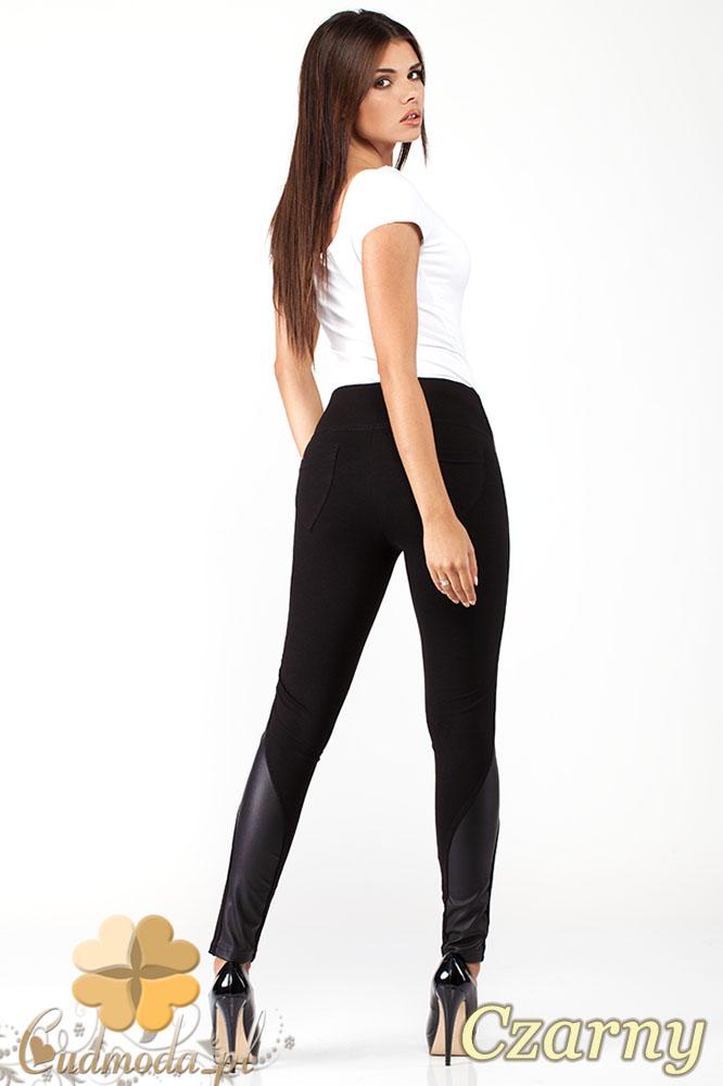 CM1011 Efektowne legginsy z wysoką gumą w pasie i skórzanymi wstawkami na nogawce - czarne