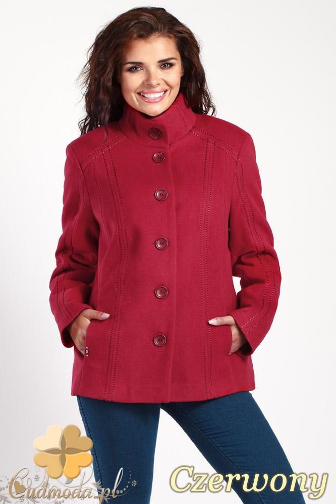 CM1013 Flauszowa kurtka damska zapinana na guziki - czerwona